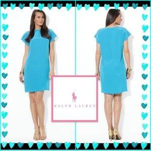 NWT Ralph Lauren Chic Blue Silk Dress